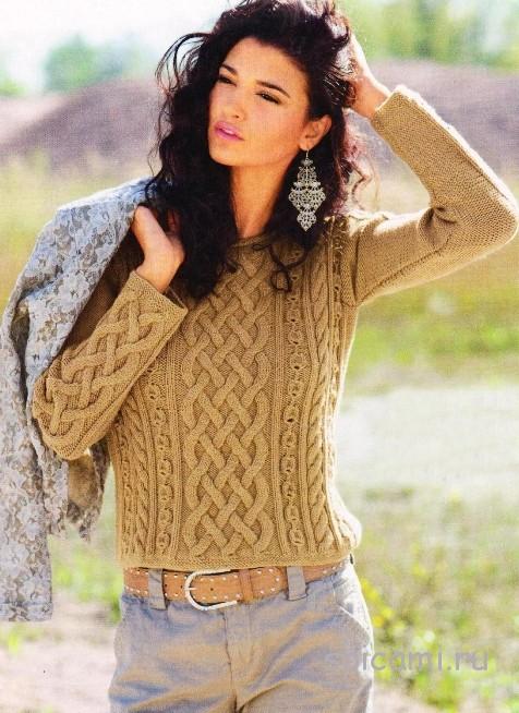 Теплый пуловер с ирландскими узорами