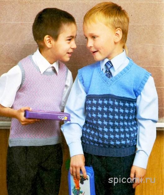 Вязаные жилеты для мальчиков