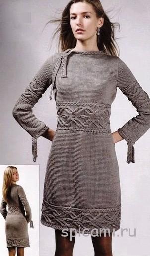 Вязаное платье с полосами из аранов