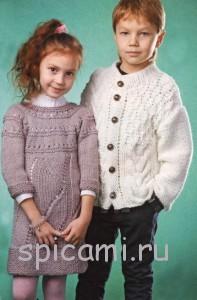 вязаный жакет для мальчика и туника для девочки