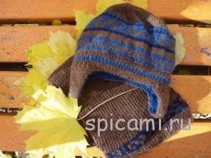 вяжем для мужчин шапка и шарф