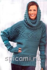 вязаный пуловер, шарф и митенки