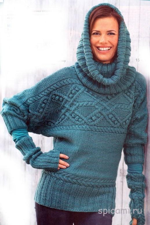 Связанный поперек пуловер, воротник-хомут и митенки