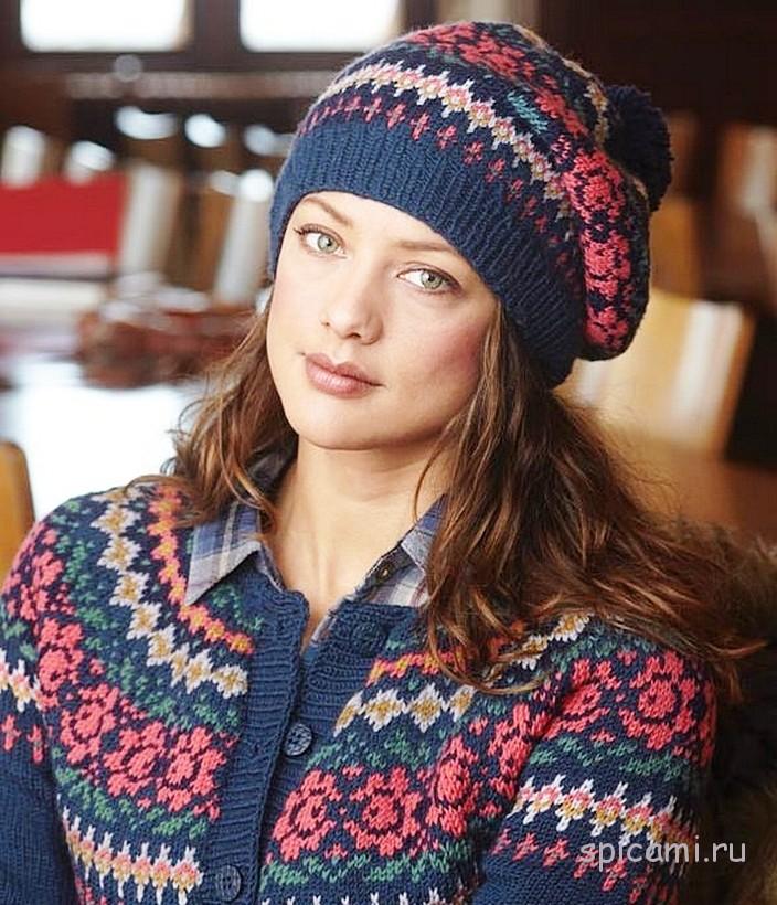 Жакет, шапочка и пуловер с жаккардовым узором
