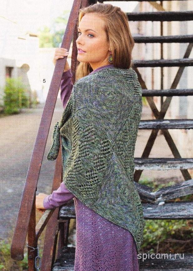 Вязаный платок в стиле пэчворк