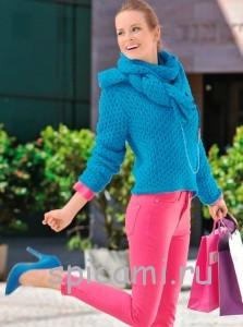 вязаный пуловер и шарф