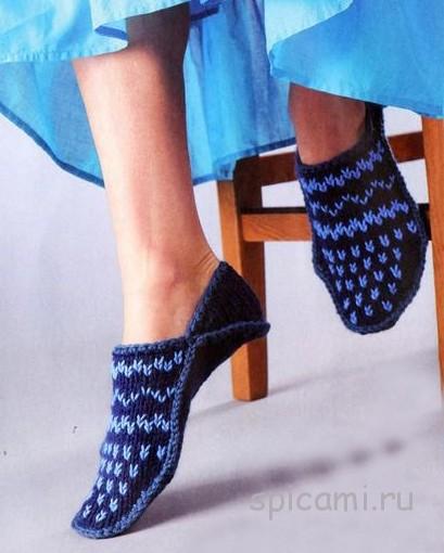 Синие тапочки с вышивкой