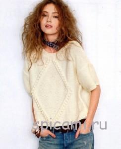 вязаный пуловер с ромбом