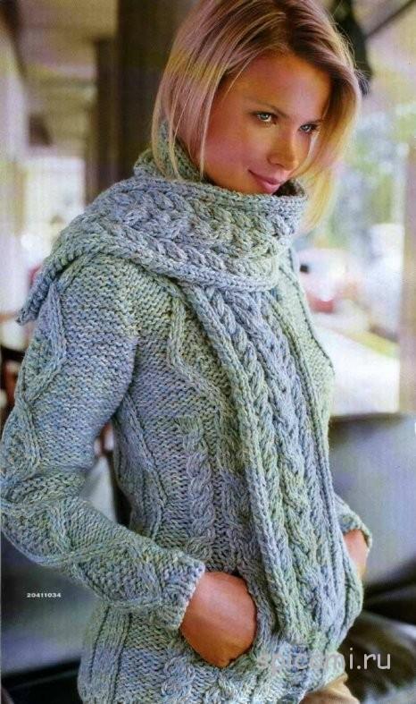 Жакет и шарф с рельефными узорами