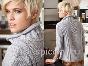 пуловер с косами спицами