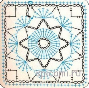 схема для вязания подушки крючком