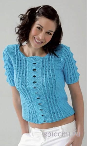 Бирюзовый пуловер спицами на лето