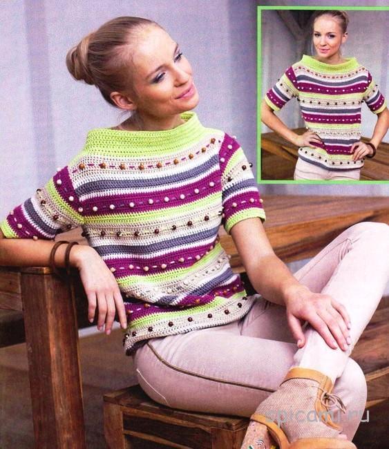 Яркий пуловер крючком