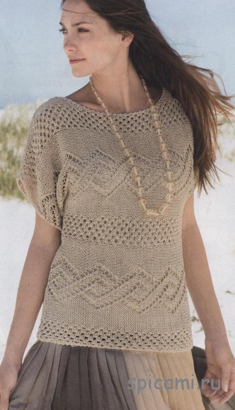 Вязаный пуловер с ажурным узором