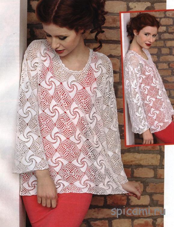 Ажурный пуловер из квадратных спиральных мотивов
