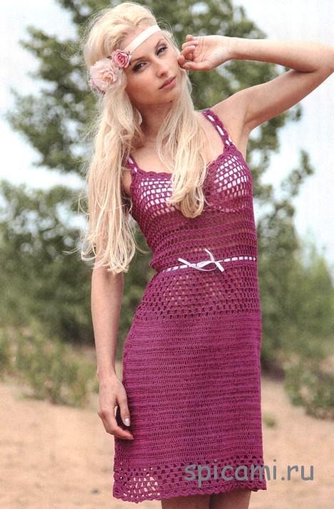 Сиреневое платье с лентами