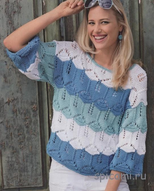 Ажурный пуловер из широких полос