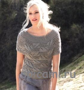вязаный пуловер поперек