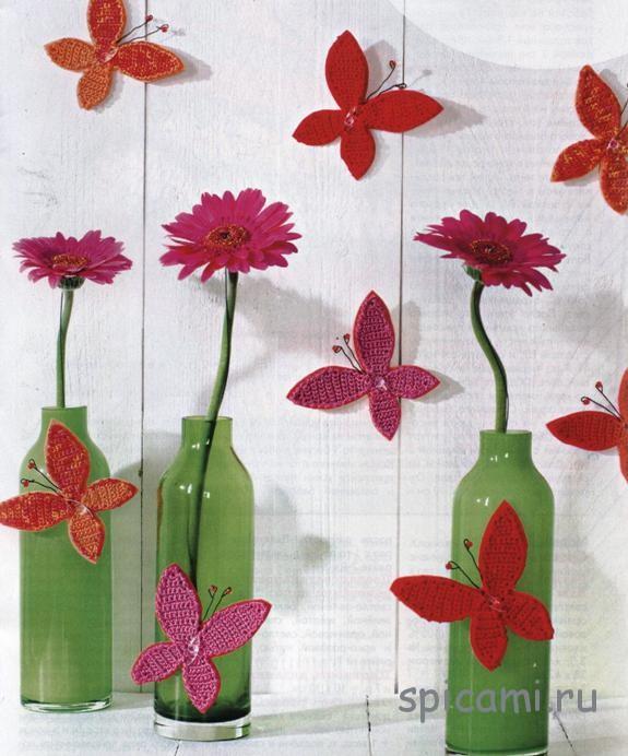 Вязаные бабочки для интерьера