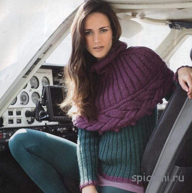 Яркая пелерина и пуловер