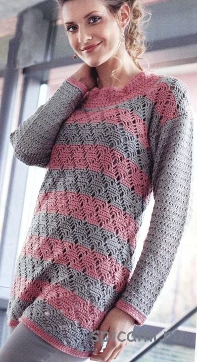 Пуловер комбинированной вязки