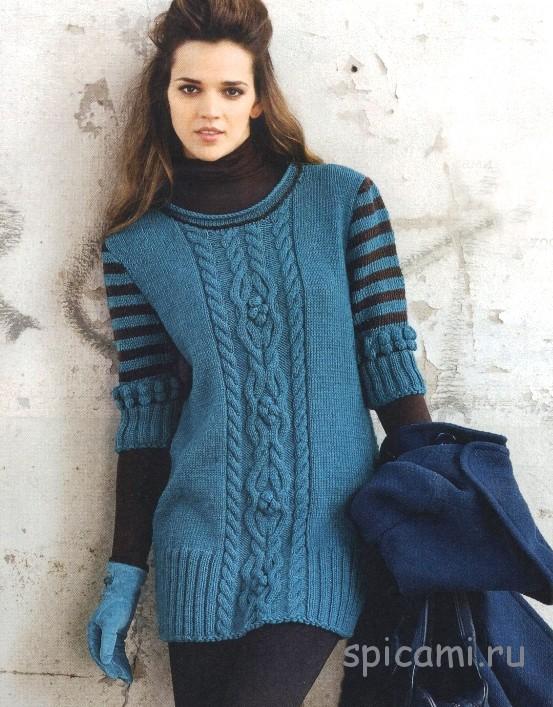 Удлиненный сине-зеленый пуловер