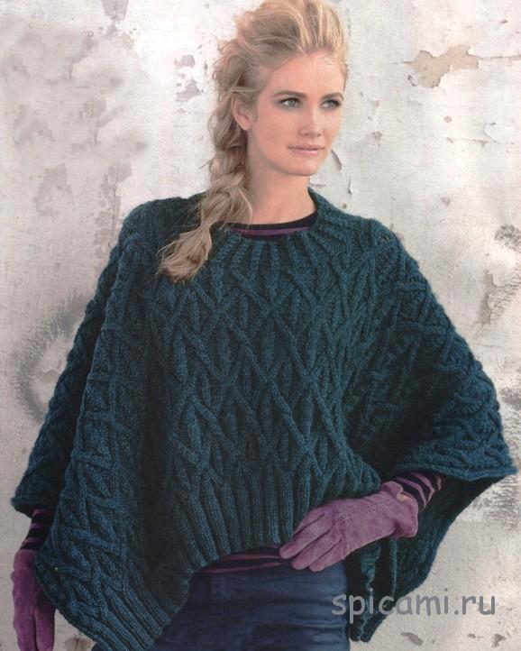 Темно-зеленый пончо-пуловер