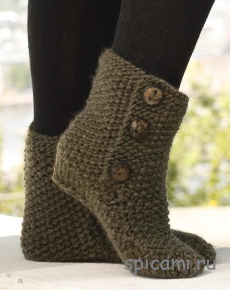 Вязаные носки-сапожки спицами