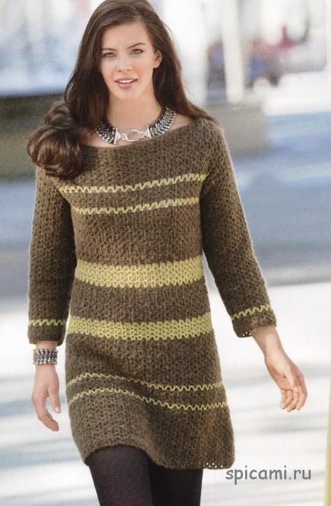 Платье с желтыми полосками