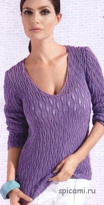 Ажурный пуловер фиалкового цвета