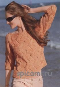 оранжевый пуловер спицами
