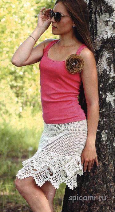 Ажурная юбка кремового цвета