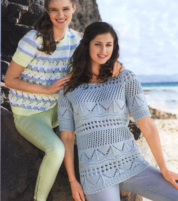Два ярких пуловера из хлопка на лето