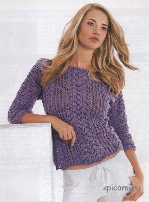 Сиреневый пуловер на лето спицами