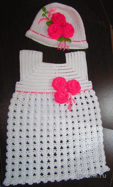 Платье и шапочка на лето для девочки