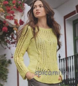 вязаный пуловер спицами на лето