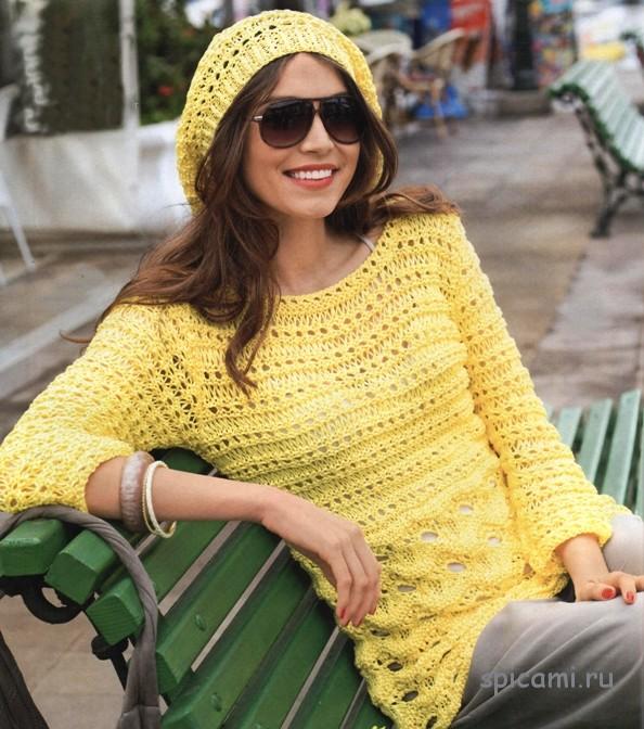 Желтый пуловер и шапочка на лето