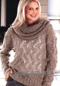 вязаный пуловер из королевского мохера