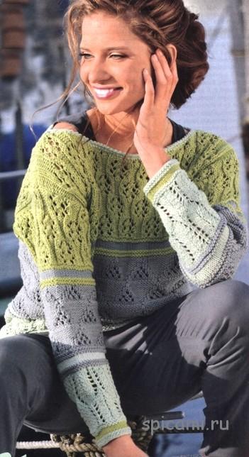 Удлиненный полосатый пуловер
