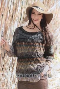 вязаный пуловер из пряжи секционного крашения