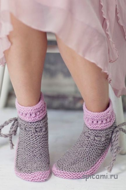 Серо-розовые носочки