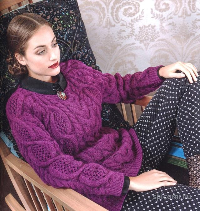 Пуловер реглан с ажурными косами