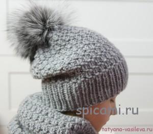 шапка и снуд спицами