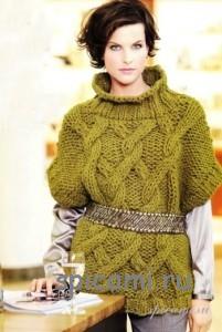 вязаный пуловер объеной вязки