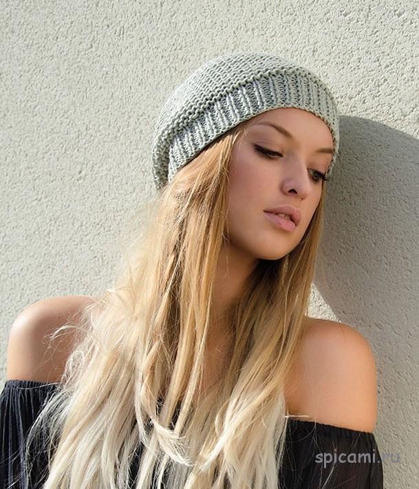 Вязаная шапочка  на лето спицами