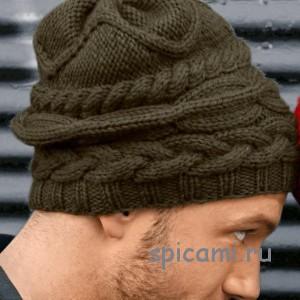вязаная шапка для мужчины спицами