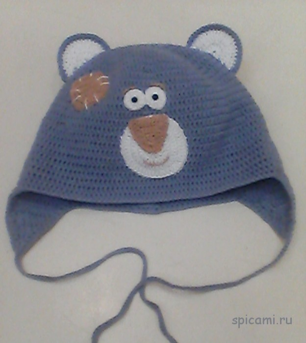 Вязаная шапочка Мишутка