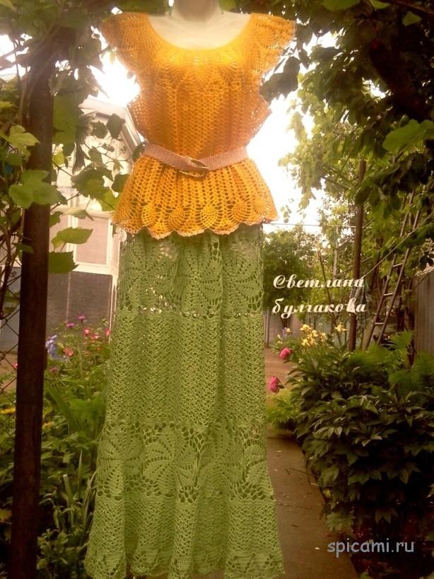 Ажурная юбка в пол и топ узором ананасы