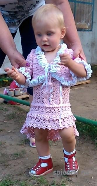 Розовый сарафан и болеро для девочки