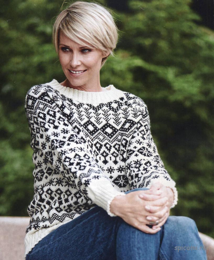 Вязаный пуловер норвежским узором